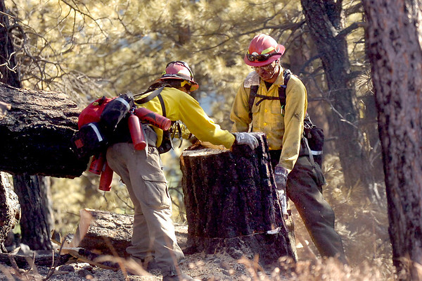 Firefighter Archie Blue Thunder, right, of Rosebud South Dakota finishes cutting down a tree as crews continue working on cleaning up the Dome Fire in Boulder Colorado on Saturday October 30, 2010.  Working with Blue Thunder is Russell Brave at left.<br /> Photo by Paul Aiken / The Camera