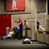 From left, a volunteer victim, Tony DiGiovanni, Ben Graff and Elizabeth Ward look at the volunteer victim laying ahead to assess the area at the Police Training Scenario at Fairview High in Boulder, CO on June 21, 2012.<br /> Rachel Woolf/ Camera