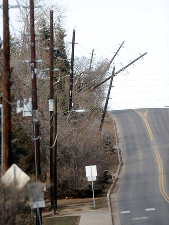 High winds damages power poles on 19th street and Norwood.<br /> photo by Paul Aiken