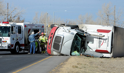 A large truck was blown over on Boulder-bound Highway 119 (Diagonal Highway). High wind gusts along Highway 119 from Boulder to Longmont resulted in overturned trucks and a grass fire on February 22, 2012. Cliff Grassmick / February 22, 2012