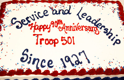 ALEC SMITH / GAZETTE A decorated cake celebrates the 90th anniversary of Medina Boy Scout Troop 501.