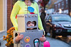 KELLY FLETCHER, REFORMER CORRESPONDENT -- Brooke Moorhouse peeks out of her robot costume on Elliot Street during BrattleBOO Halloween Festivities Thursday night.