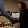 KRISTOPHER RADDER - BRATTLEBORO REFORMER<br /> Mary Giamartino, of Hotel Pharmacy, accepts an anniversary award during the Brattleboro Area Chamber of Commerce Annual Meeting 2018 that was held at the Brattleboro Retreat on Thursday, Jan. 25, 2018.