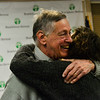 KRISTOPHER RADDER — BRATTLEBORO REFORMER<br /> Robert Tortolani gives his daughter Liz a hug after the Brattleboro Area Chamber of Commerce surprises him with her visit after he won the  Person of the Year award during the Chamber's Annual Meeting on Thursday, Jan. 24, 2019.