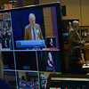 KRISTOPHER RADDER - BRATTLEBORO REFORMER<br /> Cor Trowbridge, executive director for Brattleboro Community Television, watches the monitors while Lawrin Crispe moderates Town Meeting Day on Saturday, March 24, 2018.