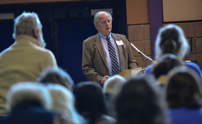 KRISTOPHER RADDER - BRATTLEBORO REFORMER<br /> Lawrin Crispe, the moderator for Brattleboro Town Meeting Day, has people stand up to vote.