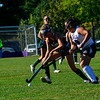 KRISTOPHER RADDER — BRATTLEBORO REFORMER<br /> Brattleboro's Makenna Severance and Burr and Burton's Annabelle Gray compete for the ball during a field hockey game at Brattleboro on Monday, Sept. 16, 2019.