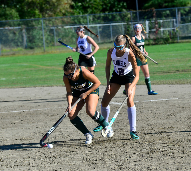KRISTOPHER RADDER — BRATTLEBORO REFORMER<br /> Burr and Burton's Efremia Geralis keeps the ball away from Brattleboro's Kiera Noble during a field hockey game at Brattleboro on Monday, Sept. 16, 2019.