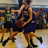 KRISTOPHER RADDER - BRATTLEBORO REFORMER<br /> Brattleboro's Jacob Williams gets around a Leland & Gray's defense during a unified basketball game on Monday, April 2, 2018.