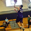 KRISTOPHER RADDER - BRATTLEBORO REFORMER<br /> Brattleboro's Jacob Williams takes a jump-shot during a unified basketball game on Monday, April 2, 2018.