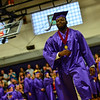 KRISTOPHER RADDER - BRATTLEBORO REFORMER<br /> Cheick Diakite walks across the gymnasium to receive his diploma during the commencement ceremony at Brattleboro Union High School on Friday, June 16, 2017.