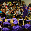 KRISTOPHER RADDER - BRATTLEBORO REFORMER<br /> Graduating senior Sam Barrows pumps his fist as he walks across the gymnasium to receive his diploma during the commencement ceremony at Brattleboro Union High School on Friday, June 16, 2017.
