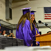 KRISTOPHER RADDER - BRATTLEBORO REFORMER<br /> Graduating seniors Colette Anton, Zenani Beagle, and Hannah Curtiss deliver the welcome address  during the commencement ceremony at Brattleboro Union High School on Friday, June 16, 2017.
