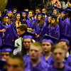 "KRISTOPHER RADDER - BRATTLEBORO REFORMER<br /> Members of the chorus sing the ""National Anthem"" during the commencement ceremony at Brattleboro Union High School on Friday, June 16, 2017."