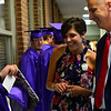KRISTOPHER RADDER - BRATTLEBORO REFORMER<br /> Graduating senior Sam Barrows shows off his cap to assistant principals Chris Day and Kate Margaitis before commencement at Brattleboro Union High School on Friday, June 16, 2017.