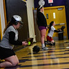 KRISTOPHER RADDER - BRATTLEBORO REFORMER<br /> Members of the Brattleboro's softball team train at the Brattleboro Union High School's gym on Friday, March 23, 2018.