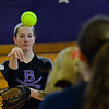 KRISTOPHER RADDER - BRATTLEBORO REFORMER<br /> Brattleboro's Hailey Derosia practices her toss during training at the Brattleboro Union High School's gym on Friday, March 23, 2018.