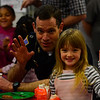 KRISTOPHER RADDER - BRATTLEBORO REFORMER<br /> Brattleboro Police Capt. Mark Carignan jokes with Isabella Griffth, a kindergartner at Academy School, as they wave to the camera during a breakfast at the school with first responders on Wednesday, April 25, 2018.