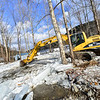 KRISTOPHER RADDER — BRATTLEBORO REFORMER<br /> Crews remove the ice jam from the Whetstone Brook that caused some major flooding at the Mountain Home Park, in West Brattleboro, on Friday, Jan. 25, 2019.