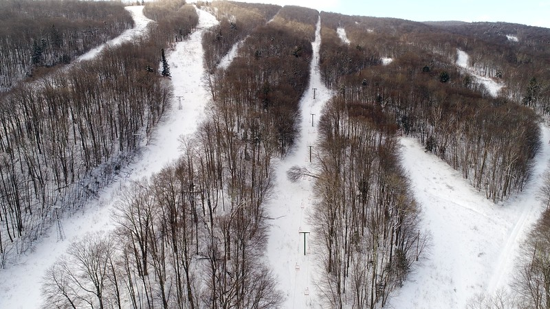 """BEN GARVER – THE BERKSHIRE EAGLE <br /> Brodie Mountain in New Ashford suspended operations in 2012. The signs at the resort read """"Snowy Owl Resort."""" Thursday, February 8, 2018."""