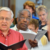 Bill Crosby sings with the bass section during the Broomfield Choral Festival Chorus rehearsal of the Schubert Mass #6 in E flat at Holy Comforter Church.<br />  August 16, 2012<br /> staff photo/ David R. Jennings