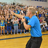 Teacher Greg Garner leads the freshman class in cheers  during the Blue Crew freshman orientation at Broomfield High School on Wednesday. <br />  August 15, 2012<br /> staff photo/ David R. Jennings