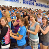 The freshman class of 2016 scratch each other's backs with Blue Crew leader upperclassmen during freshman orientation at Broomfield High School on Wednesday. <br />  August 15, 2012<br /> staff photo/ David R. Jennings