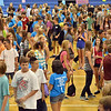 Freshmen organize themselves in order of tallest to shortest during the Blue Crew freshman orientation at Broomfield High School on Wednesday. <br />  August 15, 2012<br /> staff photo/ David R. Jennings