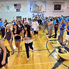 Members of the class of 2016 enter the Eagle Gym for the Blue Crew freshman orientation cheered teachers and upperclassmen at Broomfield High School on Wednesday. <br />  August 15, 2012<br /> staff photo/ David R. Jennings