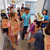 Freshman group #17 tours the high school while wearing costumes during the Blue Crew freshman orientation at Broomfield High School on Wednesday. <br />  August 15, 2012<br /> staff photo/ David R. Jennings