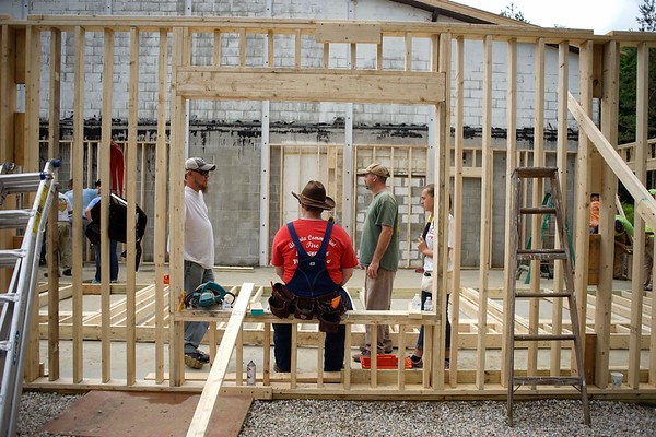 BEN GARVER — THE BERKSHIRE EAGLE<br /> Members of the Barnwell First Baptist Construction Ministry take a break while building a chapel for the Open Door Church in Lee.  The group traveled from South Carolina to help build the Church out of a gymnasium on the former Kolbourne School Property. Tuesday, July 11, 2017.