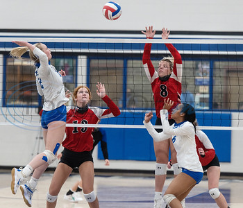 Lindale High School's Skylar Wyllie (2) spikes the volleyball past Bullard's Liz Conner (8) during their game at Lindale High School on Tuesday, Sept. 29, 2020. No. 2 Lindale swept No. 14 Bullard (25-22, 25-21, 25-20).