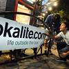 Lokalite001.JPG Lokalite co-founder Graham Christy, right, and Harrison Fast, of Boulder, work together to put up a Lokalite banner outside of The Sink on University Hill on Thursday, Oct. 6, during a Lokalite party.<br /> Jeremy Papasso/ Camera