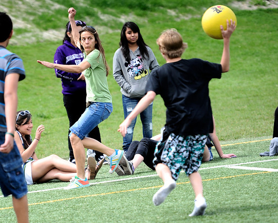 "0526CASEY5.jpg Dillon Van Leuwen Hall (cq) throws out teacher Val Wheeler while playing a students vs teacher kickball game at Casey Middle School Boulder, Colorado May 26, 2011.  Thursday was the last day of school for Casey Middle School. CAMERA/Mark Leffingwell <br /> <br /> Watch video of the kickball game at  <a href=""http://www.dailycamera.com"">http://www.dailycamera.com</a>"