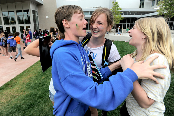 0526CASEY7.jpg Chris Nicholson (left) Sophie DeFries (middle) and Avery Banik (right) celebrated becoming eighth graders as school ended for the summer at Casey Middle School in Boulder, Colorado May 26, 2011.  CAMERA/Mark Leffingwell