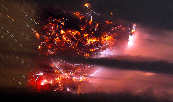 Chile Volcano.JPEG-06f2e.JPG Volcanic lightning is seen over the Puyehue volcano, over 500 miles south of Santiago, Chile, Sunday June 5, 2011. Authorities have evacuated about 600 people in the nearby area. The volcano was calm on Sunday, one day after raining down ash and forcing thousands to flee, although the cloud of soot it had belched out still darkened skies as far away as Argentina. (AP Photo/Francisco Negroni, AgenciaUno) CHILE OUT, NO PUBLICAR EN CHILE,  NO SALES