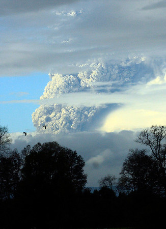 APTOPIX Chile Volcano.J(3).JPG A column of smoke and ashes spews out from the Puyehue volcano, some 1,100 kilometers south of Santiago, Chile, Saturday, June 4, 2011. Authorities have evacuated about 600 people living near the volcano. There have been no reports of injuries. (AP Photo/Martin Iniguez)