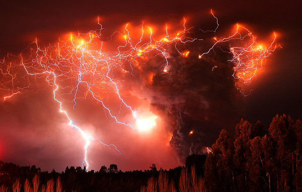 APTOPIX Chile Volcano .JPEG.JPG Lightning strikes over the Puyehue volcano, over 500 miles south of Santiago, Chile, Monday June 6, 2011.  Authorities have evacuated about 3,500 people in the nearby area. The volcano was calm on Monday, two days after raining down ash and forcing thousands to flee, although the cloud of soot it had belched out still darkened skies as far away as Argentina. (AP Photo/Francisco Negroni, AgenciaUno) CHILE OUT, NO PUBLICAR EN CHILE, NO SALES
