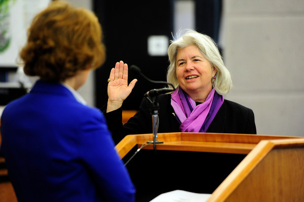 Deb Gardner is sworn in as a Boulder County Commissioner by Chief Boulder County District judge at the Boulder County Courthouse Tuesday January 8, 2013<br /> Photo by Paul Aiken / The Daily Camera / January 8, 2013