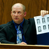 COYTRIAL303.JPG COYTRIAL<br /> Boulder police detective Kurt Foster shows the jury a lineup card used in the investigation of a second degree assault and hate-crime case involving Joseph Coy.<br /> Photo by Marty Caivano/April 19, 2011