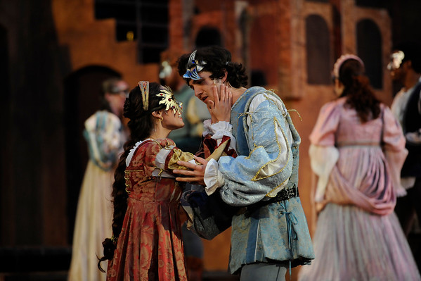 Jamie Ann Romero (left), playing Juliet, dances with Benjamin Bonenfant (right), playing Romeo,during rehearsal for Romeo and Juliet in the Mary Rippon Outdoor Theater at the University of Colorado in Boulder, Colorado June 19, 2011.  CAMERA/Mark Leffingwell