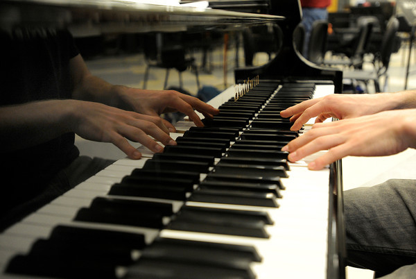 University of Colorado Jazz Band member Stephen Thurston plays the piano during a rehearsal on Tuesday, March 5, at the Imig Music building on the CU campus in Boulder.<br /> Jeremy Papasso/ Camera