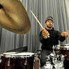 University of Colorado Jazz Band member Alwyn Robinson jams away on the drums during a rehearsal on Tuesday, March 5, at the Imig Music building on the CU campus in Boulder.<br /> Jeremy Papasso/ Camera