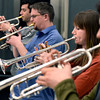 University of Colorado Jazz Band members Paul Sprowell, right, Christine Palmer, Dan Jonas and David Rajewski play their trumpets during a rehearsal on Tuesday, March 5, at the Imig Music building on the CU campus in Boulder.<br /> Jeremy Papasso/ Camera