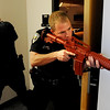"Officers, Kevin Marples, left, and Mike Deloncker, participate in a training exercise on the CU campus on Wednesday.<br /> New University of Colorado police were trained in an ""active harmer"" scenario, similar to a Virginia Tech shooting situation.<br /> For a video of the CU Police training exercise, go to  <a href=""http://www.dailycamera.com"">http://www.dailycamera.com</a>.<br /> December 28, 2011 / Cliff Grassmick"