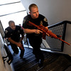 "Officers, Daniel Diaz, left, and Mike Deloncker, participate in an exercise.<br /> New University of Colorado police were trained in an ""active harmer"" scenario, similar to a Virginia Tech shooting situation.<br /> For a video of the CU Police training exercise, go to  <a href=""http://www.dailycamera.com"">http://www.dailycamera.com</a>.<br /> December 28, 2011 / Cliff Grassmick"