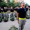 "Soma Mayahzadeh, junior, calls her squad of Alpha Company, Golden Buffalo Battalion to order as they finish some very early training Thursday morning on September 8, 2011 just outside Folsom Field on the University of Colorado Boulder Campus.<br /> FOR MORE PHOTOS AND A VIDEO OF THE TRAINING GO TO  <a href=""http://WWW.DAILYCAMERA.COM"">http://WWW.DAILYCAMERA.COM</a><br /> Photo by Paul Aiken / The Camera / September 6 2011"