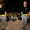 "From left to right Cadet Royce Woodard, and Cadet Captain Max Perez with Alpha Company, Golden Buffalo Battalion, stand at attention prior to some very  early Thursday morning training on September 8, 2011 just outside Folsom Field on the University of Colorado Boulder Campus.<br /> FOR MORE PHOTOS AND A VIDEO OF THE TRAINING GO TO  <a href=""http://WWW.DAILYCAMERA.COM"">http://WWW.DAILYCAMERA.COM</a><br /> Photo by Paul Aiken / The Camera / September 6 2011"