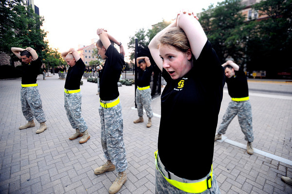 "Cadet Nicole Murray, sophomore, Alpha Company, Golden Buffalo Battalion trains very  early Thursday morning on September 8, 2011 just outside Folsom Field on the University of Colorado Boulder Campus.<br /> FOR MORE PHOTOS AND A VIDEO OF THE TRAINING GO TO  <a href=""http://WWW.DAILYCAMERA.COM"">http://WWW.DAILYCAMERA.COM</a><br /> Photo by Paul Aiken / The Camera / September 6 2011"