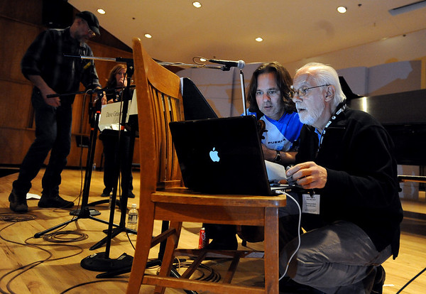 "Charlie Bisharat, left, and Oscar Castro-Neves, prepare for the panel,  ""Amor em Paz: Music of Brazil,"" on Friday.<br /> One of the final highlights of the 2010 Conference on World Affairs was Dave and Don Grusin, Charlie Bisharat and Oscar Castro-Neves, talking about and plying music of Brazil.<br /> For more photos and a video of the panel, go to  <a href=""http://www.dailycamera.com"">http://www.dailycamera.com</a>.<br /> Cliff Grassmick / April 9, 2010"